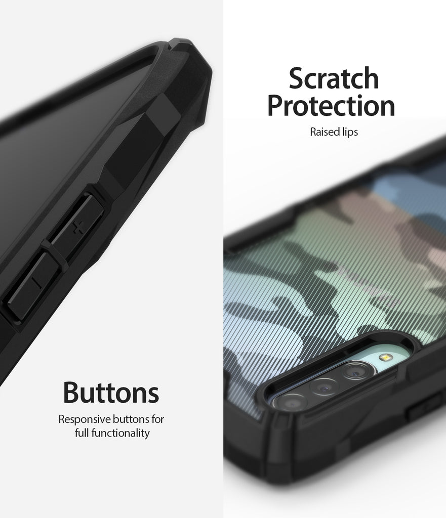 scratch resistant surface with responsive button cutouts