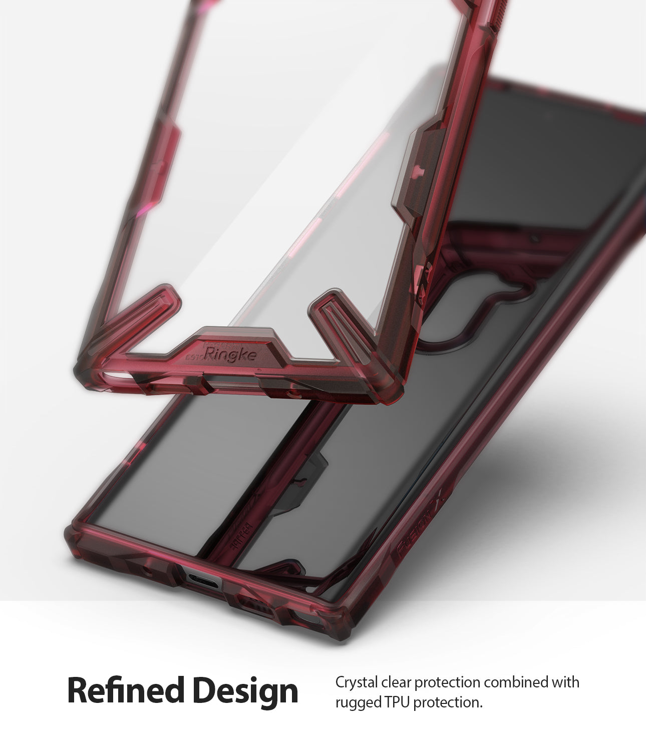 refined design with crystal clear pc back panel with impact absorbing tpu bumper