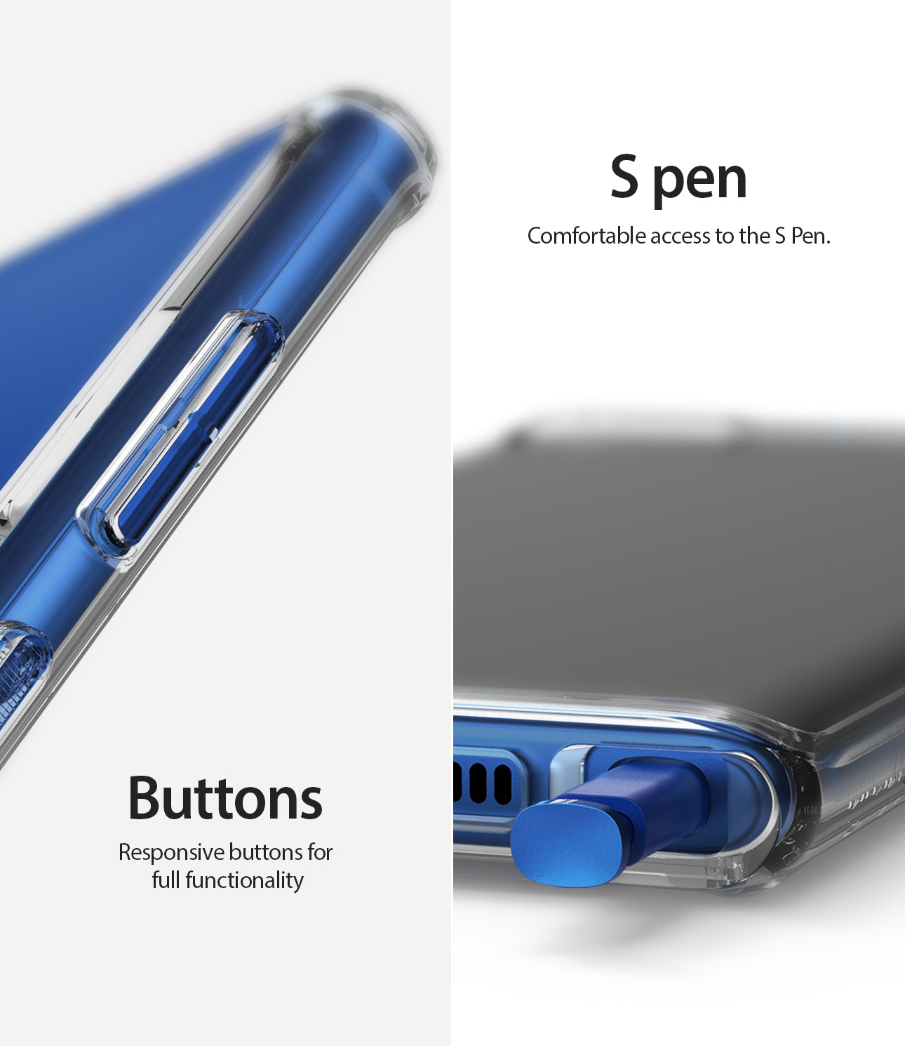 comfortable access to s pen with precise button cutouts