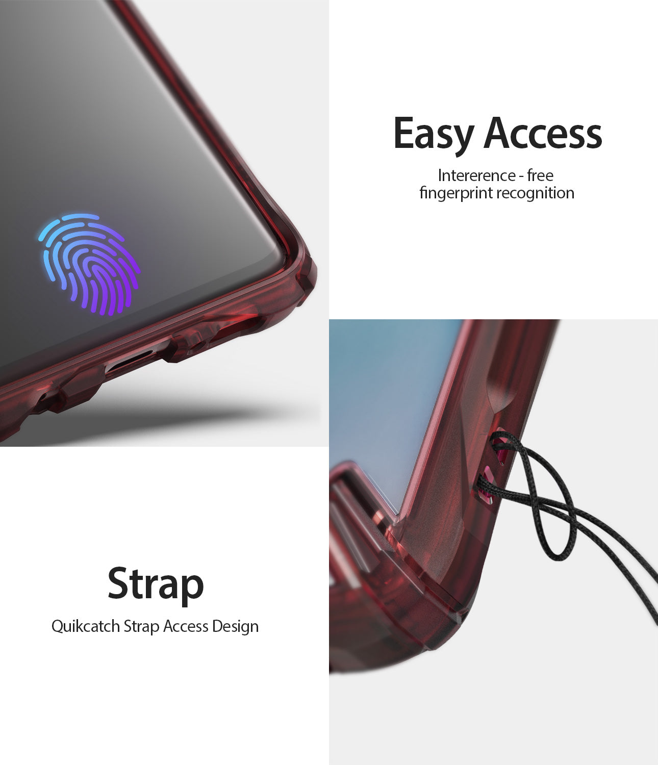 easy access interference free fingerprint recognition with quikcatch strap aceess design