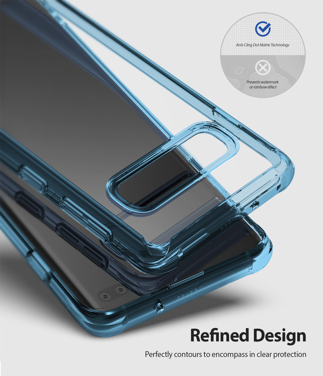 refined design perfectly contours to encompass in clear protection