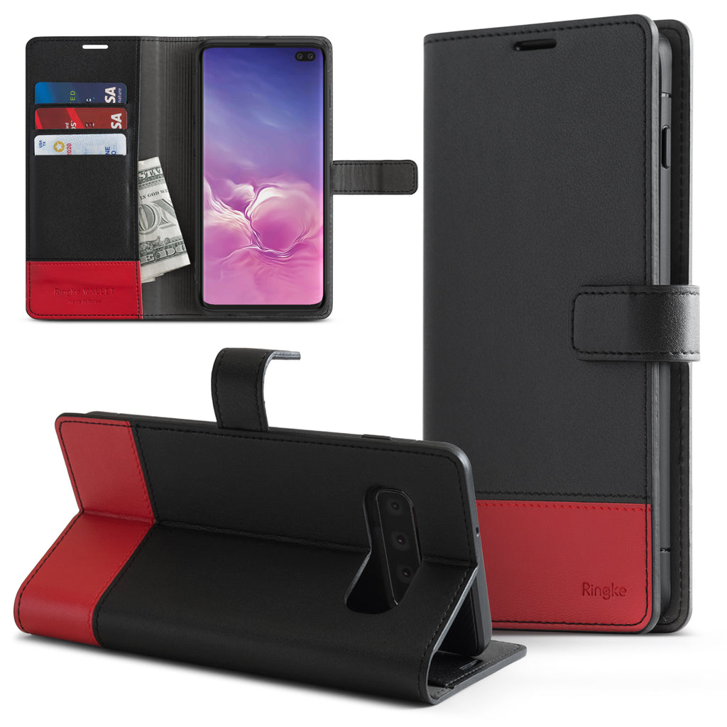 galaxy s10 plus wallet black & red
