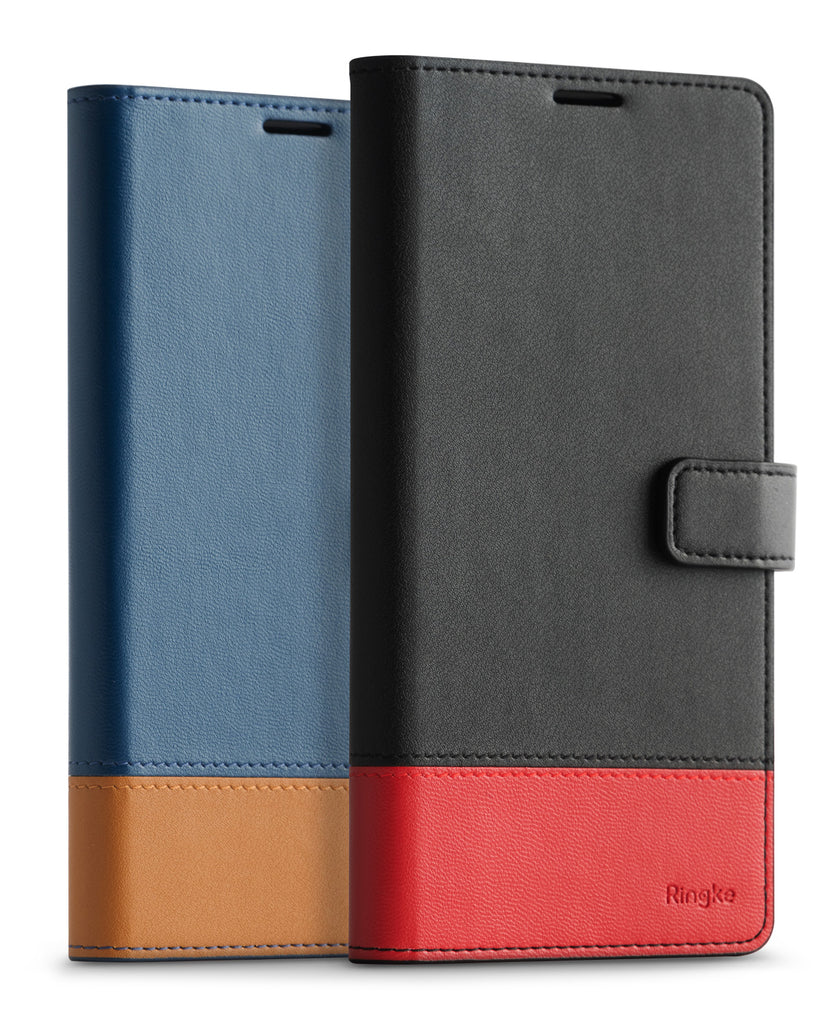 samsung galaxy s10 case ringke wallet black & red, navy & brown