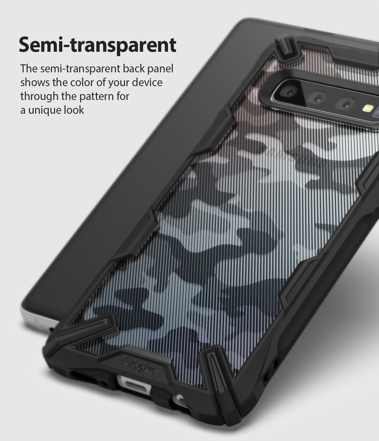 the semi transparent back panel shows the color of your device through the pattern for a unique look