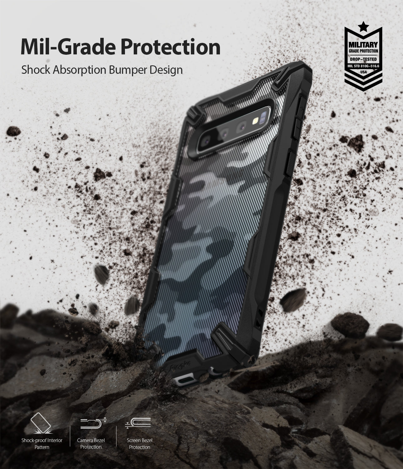 mil-grade protection of shock absorption bumper design