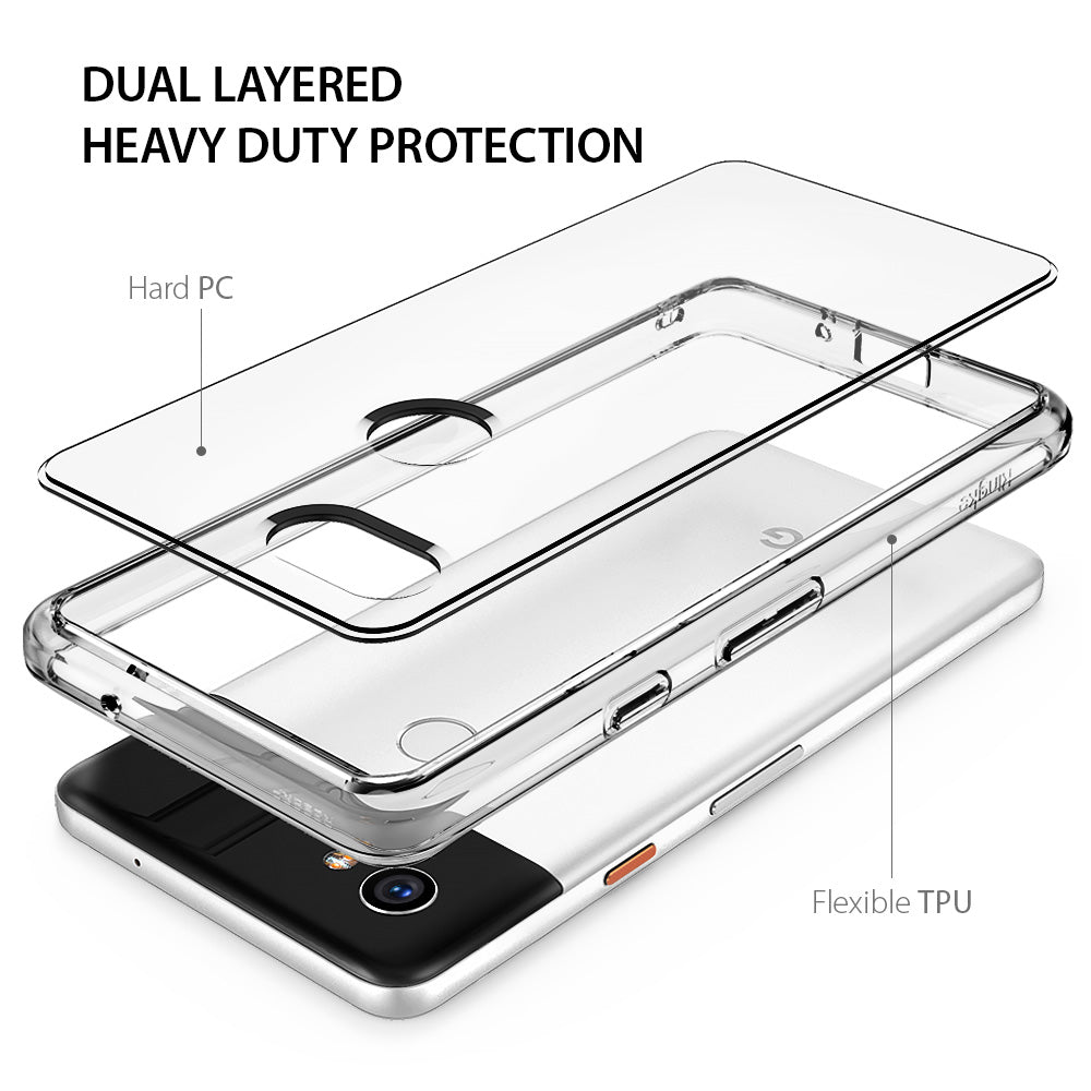 ringke fusion clear transparent hard back case cover for google pixel 2 xl main layered