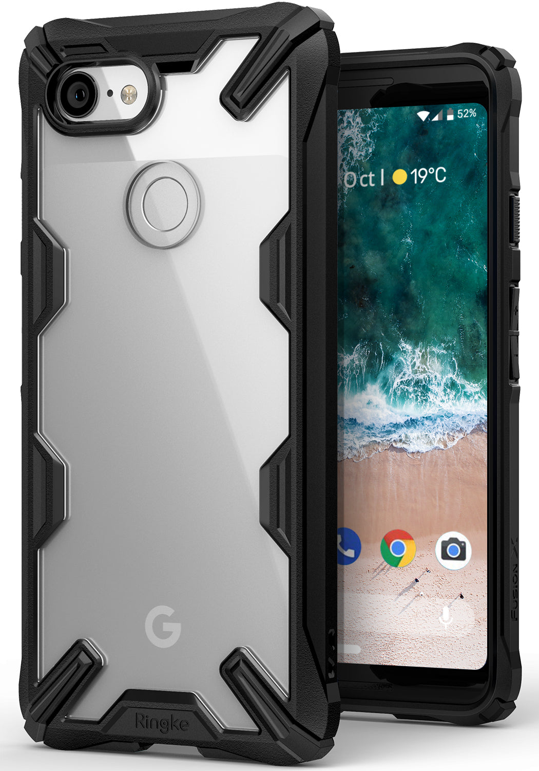 ringke fusion-x rugged heavy duty clear back case cover for google pixel 3 main black