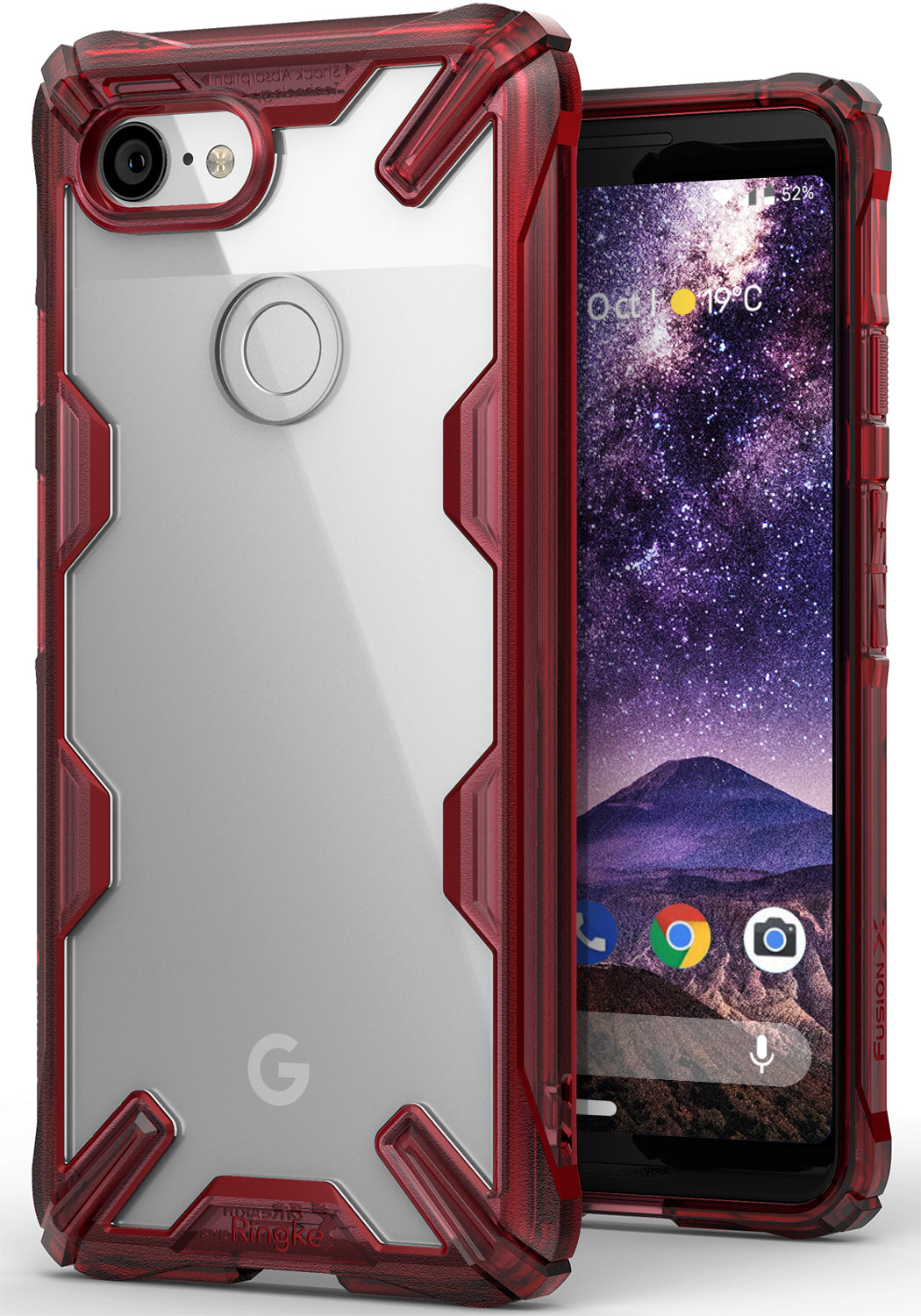 ringke fusion-x rugged heavy duty clear back case cover for google pixel 3 main ruby red