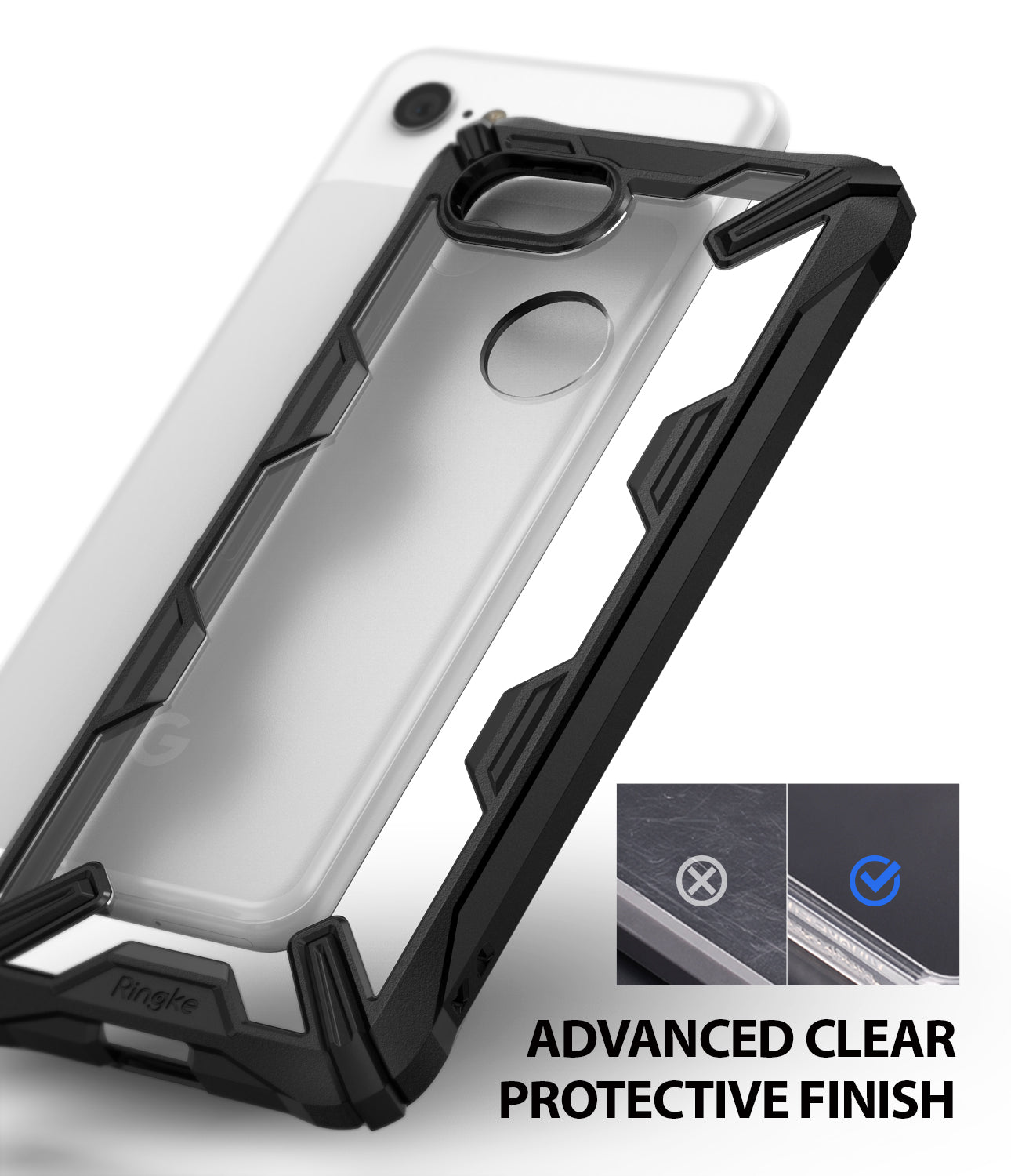 ringke fusion-x rugged heavy duty clear back case cover for google pixel 3 main anti cling technology
