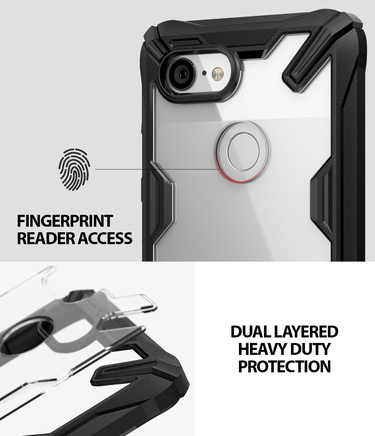 ringke fusion-x rugged heavy duty clear back case cover for google pixel 3 main fingerprint scanner accessible