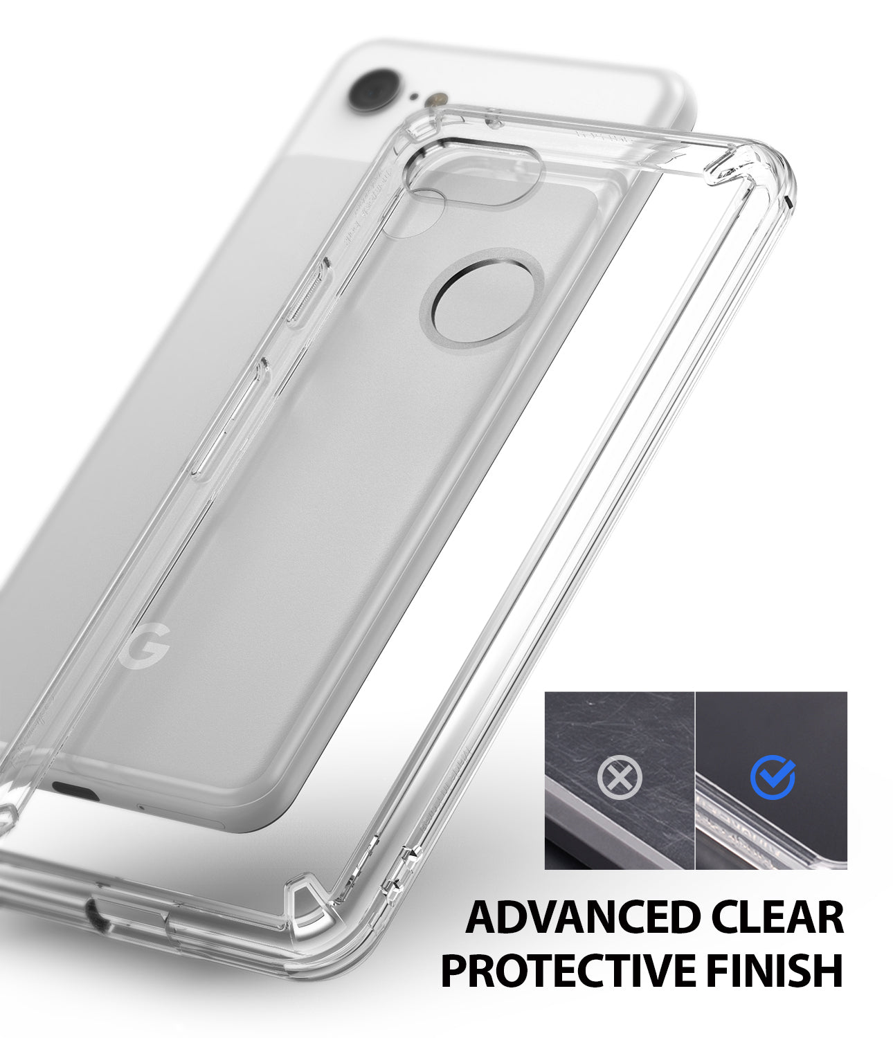 ringke fusion clear transparent protective back case cover for google pixel 3 main anti cling technology