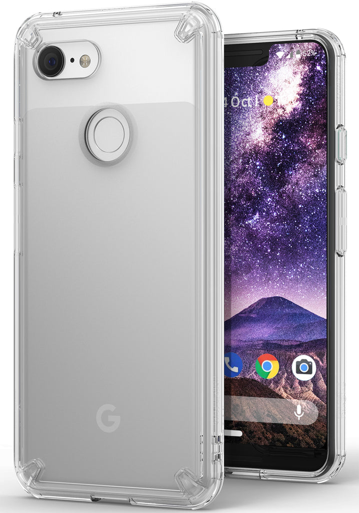 ringke fusion clear transparent protective back case cover for google pixel 3 xl main clear