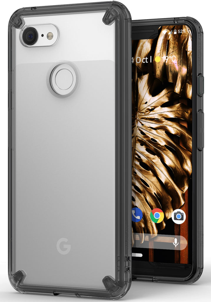 ringke fusion clear transparent protective back case cover for google pixel 3 xl main smoke black