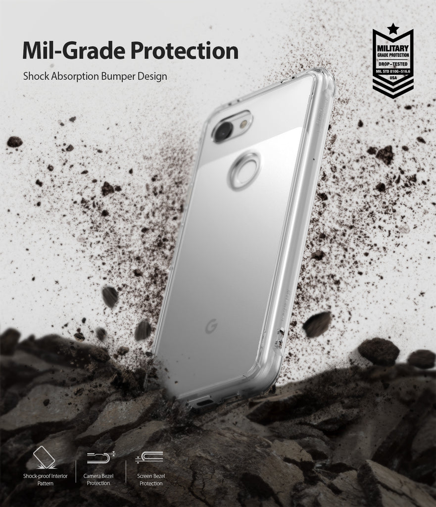 ringke fusion clear transparent protective back case cover for google pixel 3a xl main