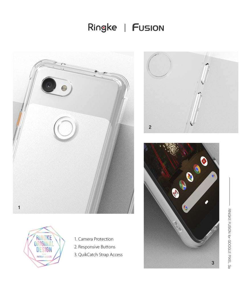 ringke fusion clear transparent protective back case cover for google pixel 3a main