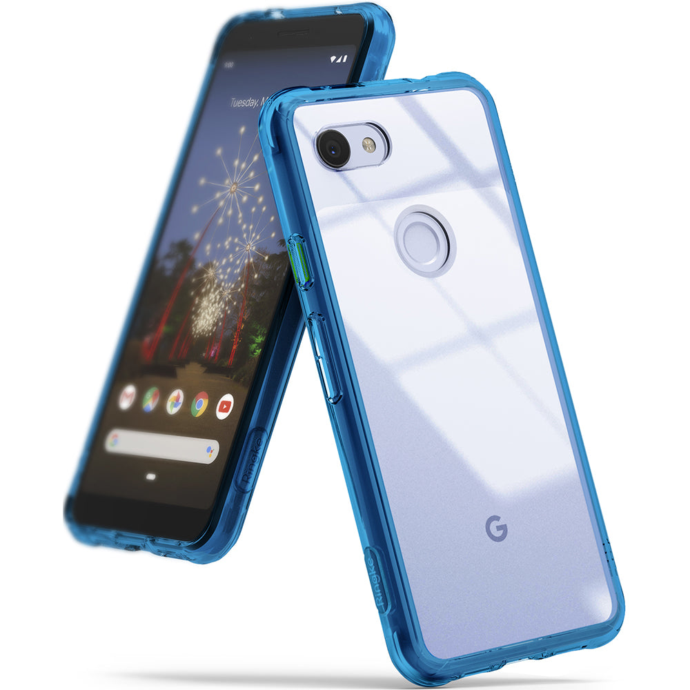 ringke fusion clear transparent protective back case cover for google pixel 3a main aqua blue