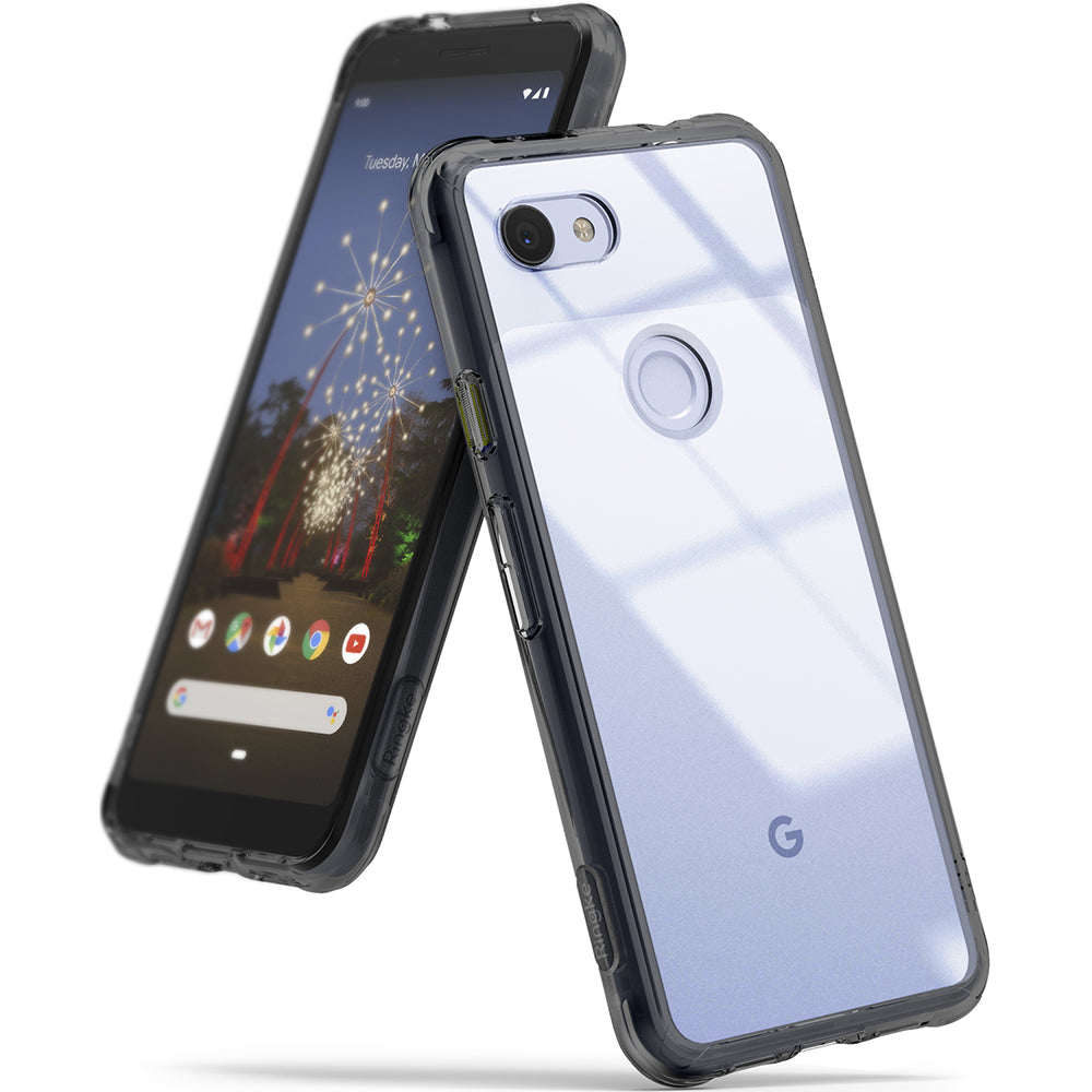 ringke fusion clear transparent protective back case cover for google pixel 3a main smoke black