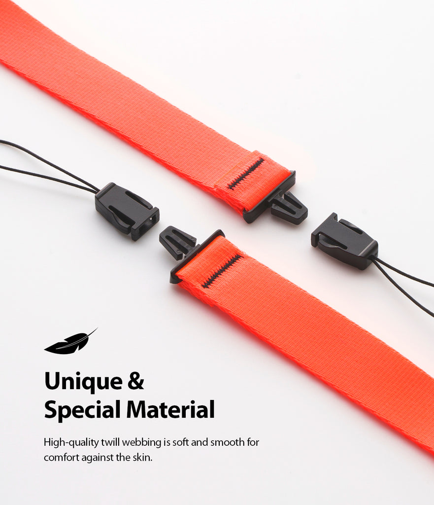 ringke hand strap neon orange high quality twill webbing soft and durable material