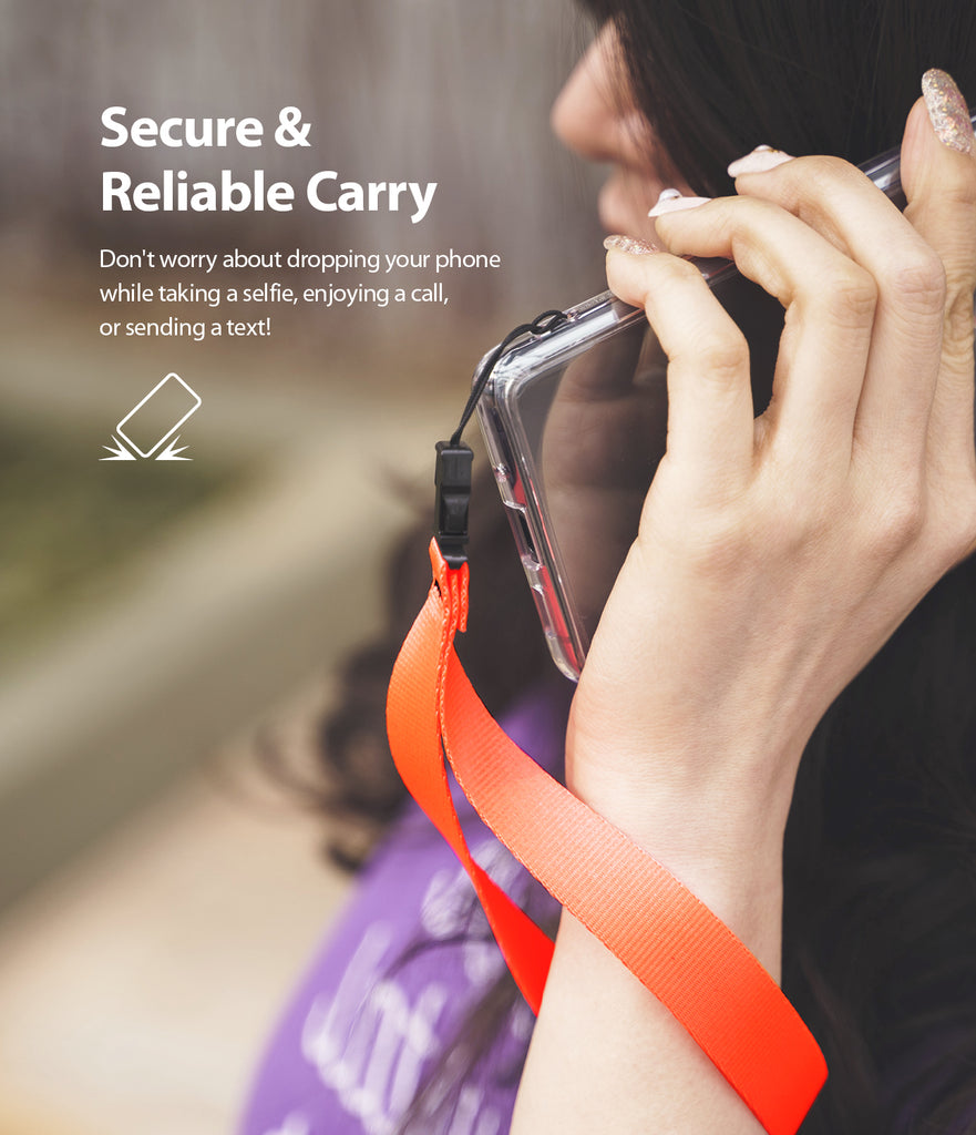 ringke hand strap neon orange provides secure and reliable carry