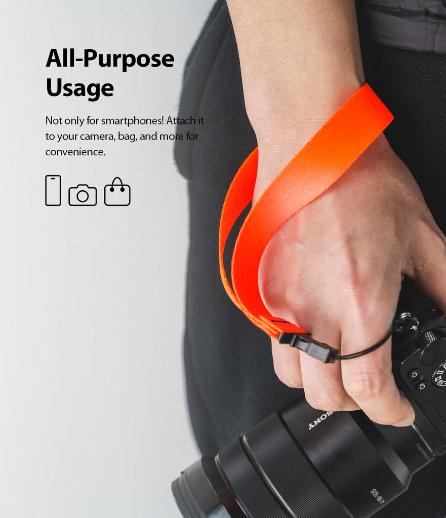ringke hand strap neon orange compatible with smartphone, camera, gopro, etc