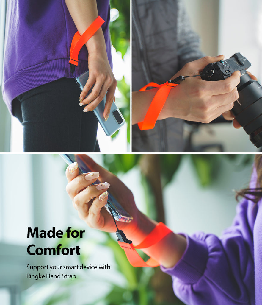 ringke hand strap neon orange made for a comfortable use