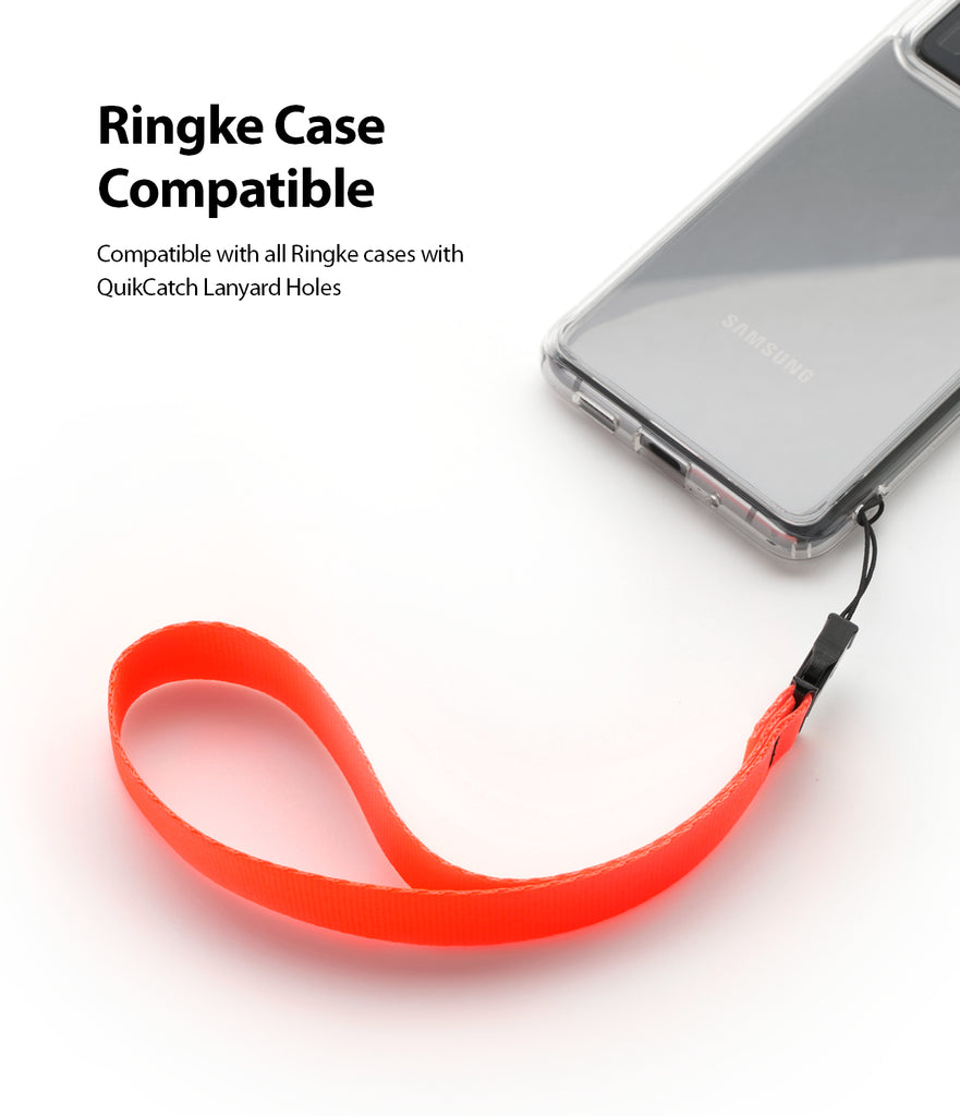 ringke hand strap neon orange compatible with ringke phone cases with quikcatch strap hole