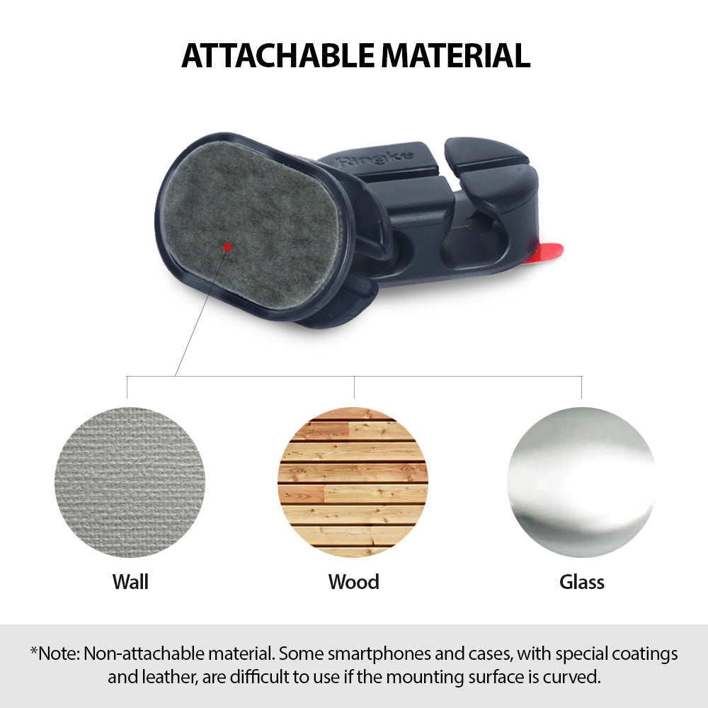attachable material: works on clean flat walls, wood, glass