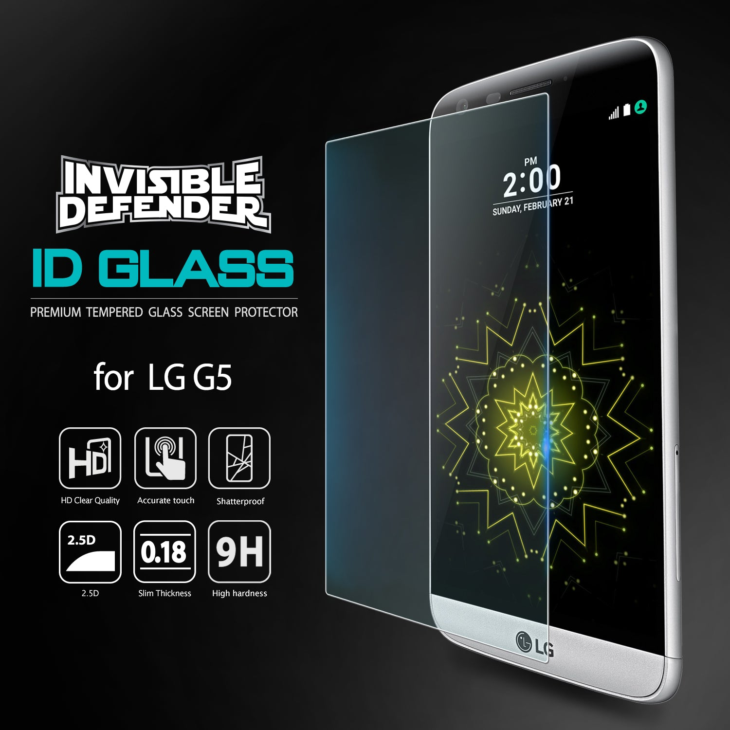 invisible defender tempered glass screen protector for lg g5