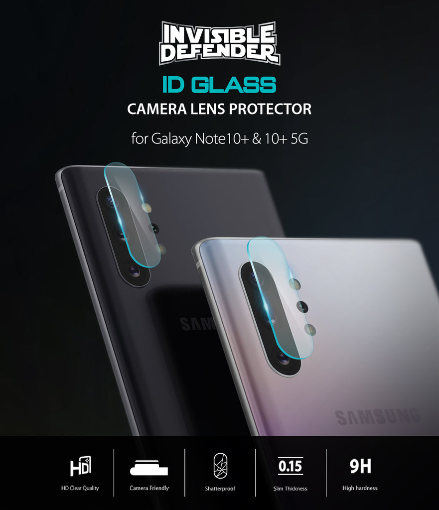 invisible defender glass - tempered glass camera protector for galaxy note 10 / 10 plus