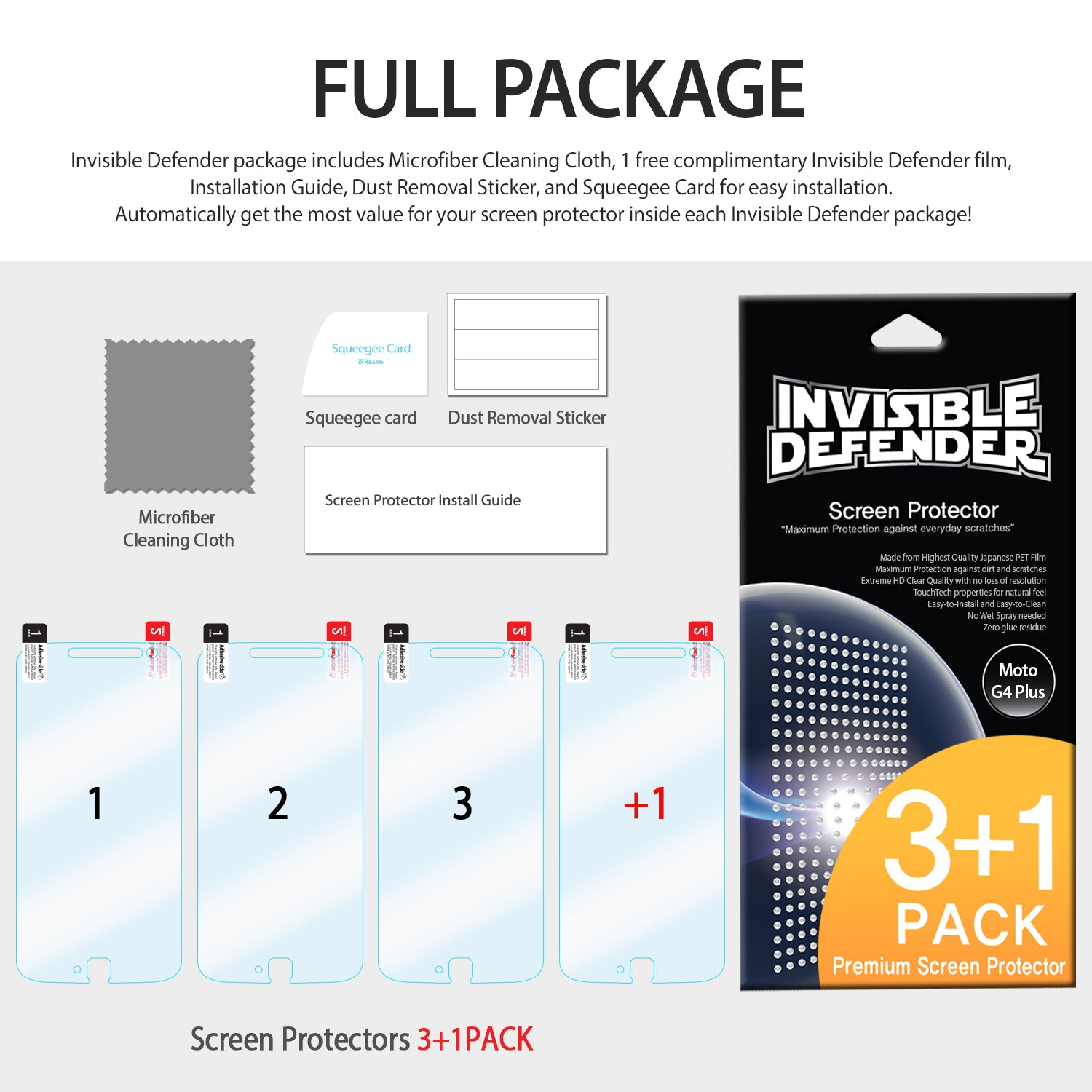 ringke invisible defender film screen protector for moto g4 plus full package