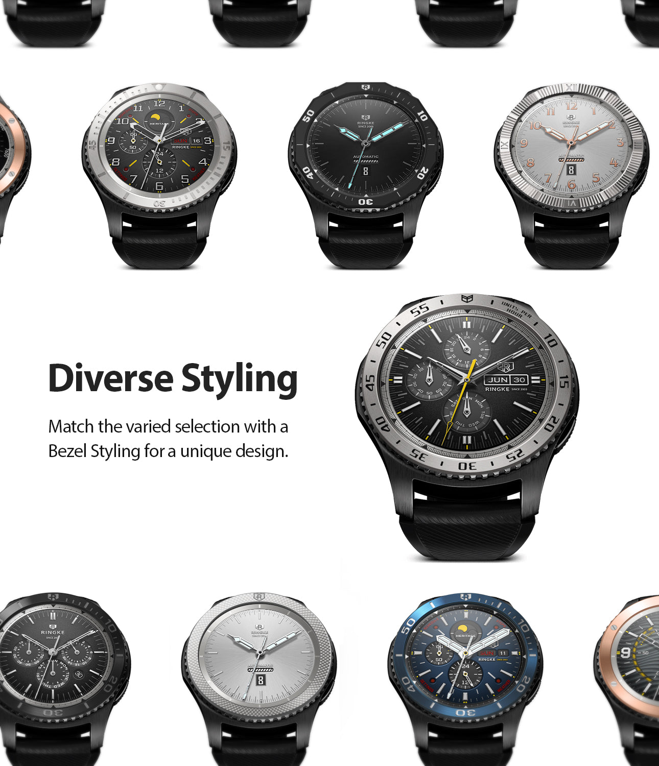 Ringke Inner Bezel Styling for Galaxy Watch 46mm, Gear S3 Frontier, Classic, GW-46-IN-01, DIVERSE STYLING