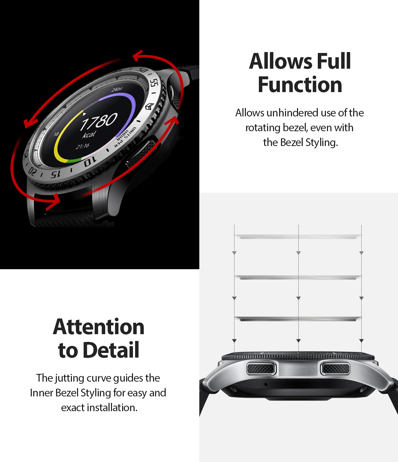 Ringke Inner Bezel Styling for Galaxy Watch 46mm, Gear S3 Frontier, Classic, GW-46-IN-01, ATTENTION TO DETAIL