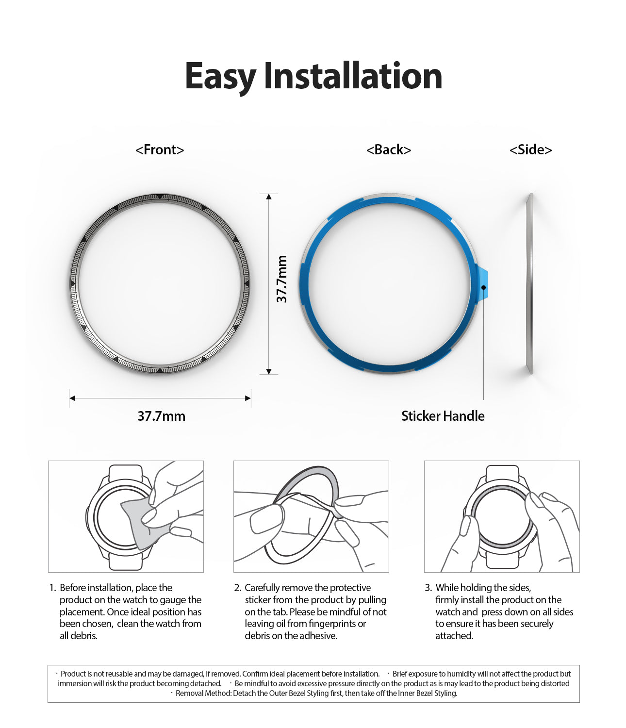 Ringke Inner Bezel Styling for Galaxy Watch 46mm, Gear S3 Frontier, Classic, GW-46-IN-01, EASY INSTALLATION