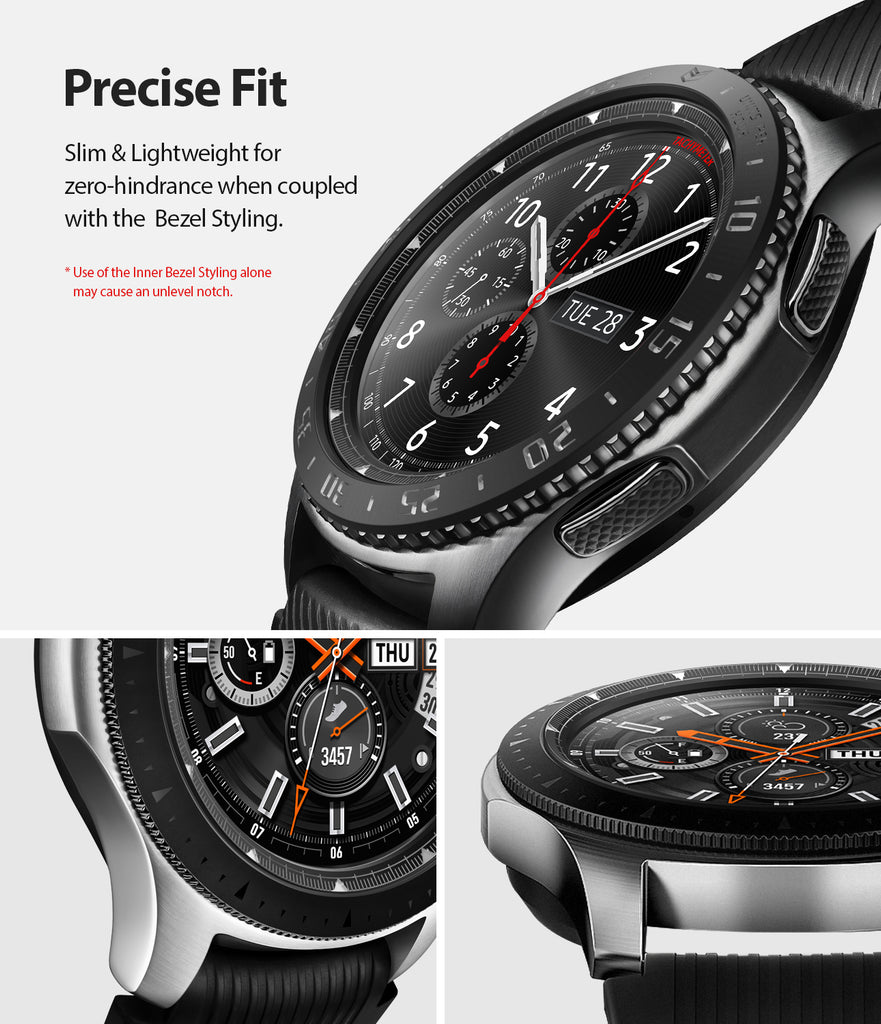 ringke inner bezel styling for samsung galaxy watch 46mm, gear s3 frontier, and gear s3 classic, 46-inner-02, stainless steel, precise fit