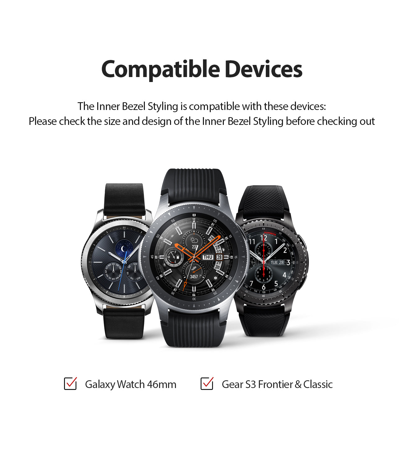 ringke inner bezel styling for samsung galaxy watch 46mm, gear s3 frontier, and gear s3 classic, 46-inner-02, stainless steel, compatibility