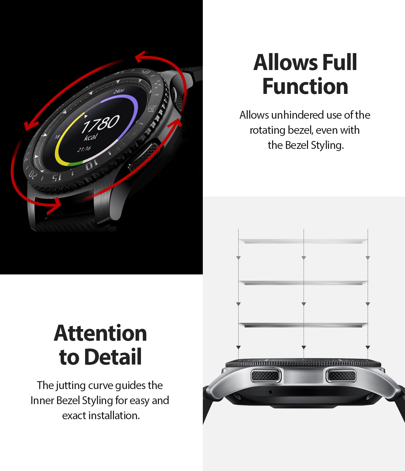 ringke inner bezel styling for samsung galaxy watch 46mm, gear s3 frontier, and gear s3 classic, 46-inner-02, stainless steel, attention to detail