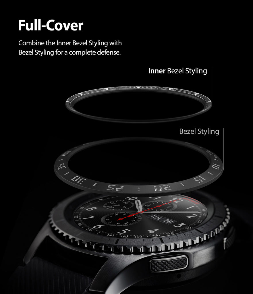 ringke inner bezel styling for samsung galaxy watch 46mm, gear s3 frontier, and gear s3 classic, 46-inner-02, stainless steel, full coverage
