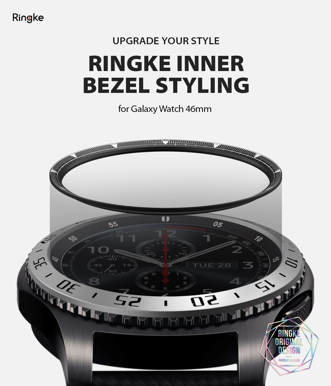 ringke inner bezel styling for samsung galaxy watch 46mm, gear s3 frontier, and gear s3 classic, 46-inner-02, stainless steel,