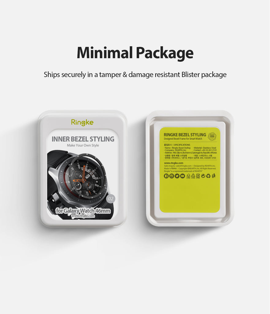 ringke inner bezel styling for samsung galaxy watch 46mm, gear s3 frontier, and gear s3 classic, 46-inner-02, stainless steel, minimal package