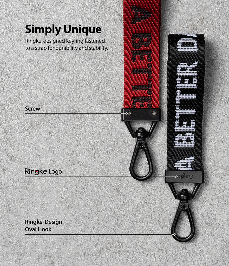 ringke deisnged keyring fastened to strap for a durability and stability