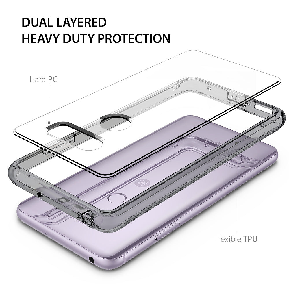 dual layered heavy duty protection with hard pc back and flexible tpu bumper