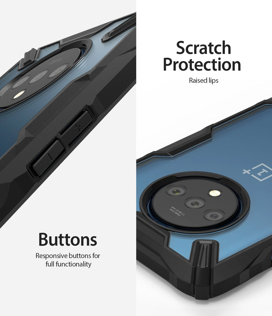 scratch protection with raised lip and responsive buttons