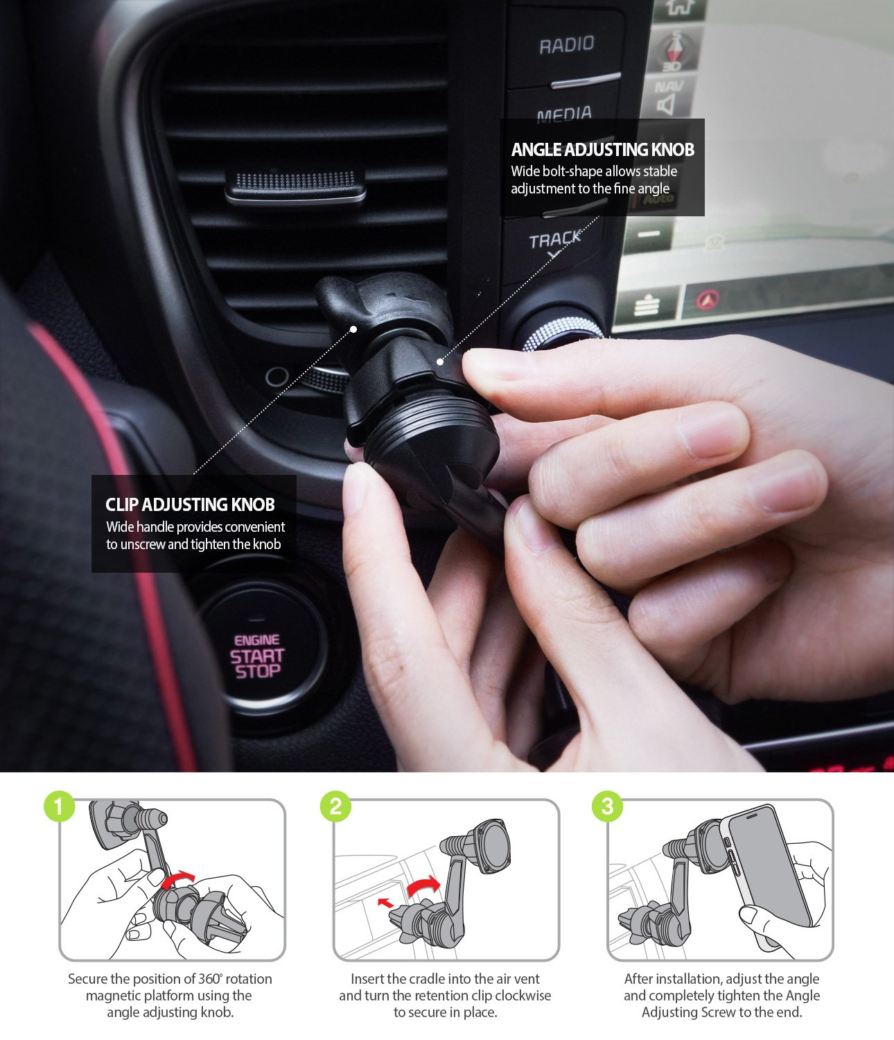 Ringke Power Clip Wing Car Mount easy installation guide