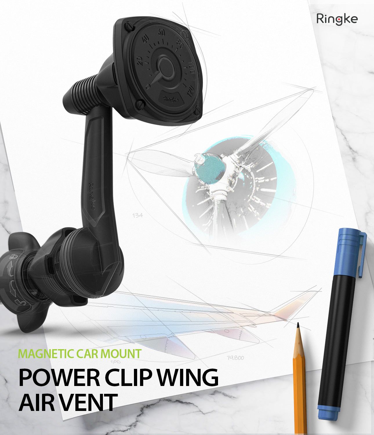 Power Clip Wing Car Mount