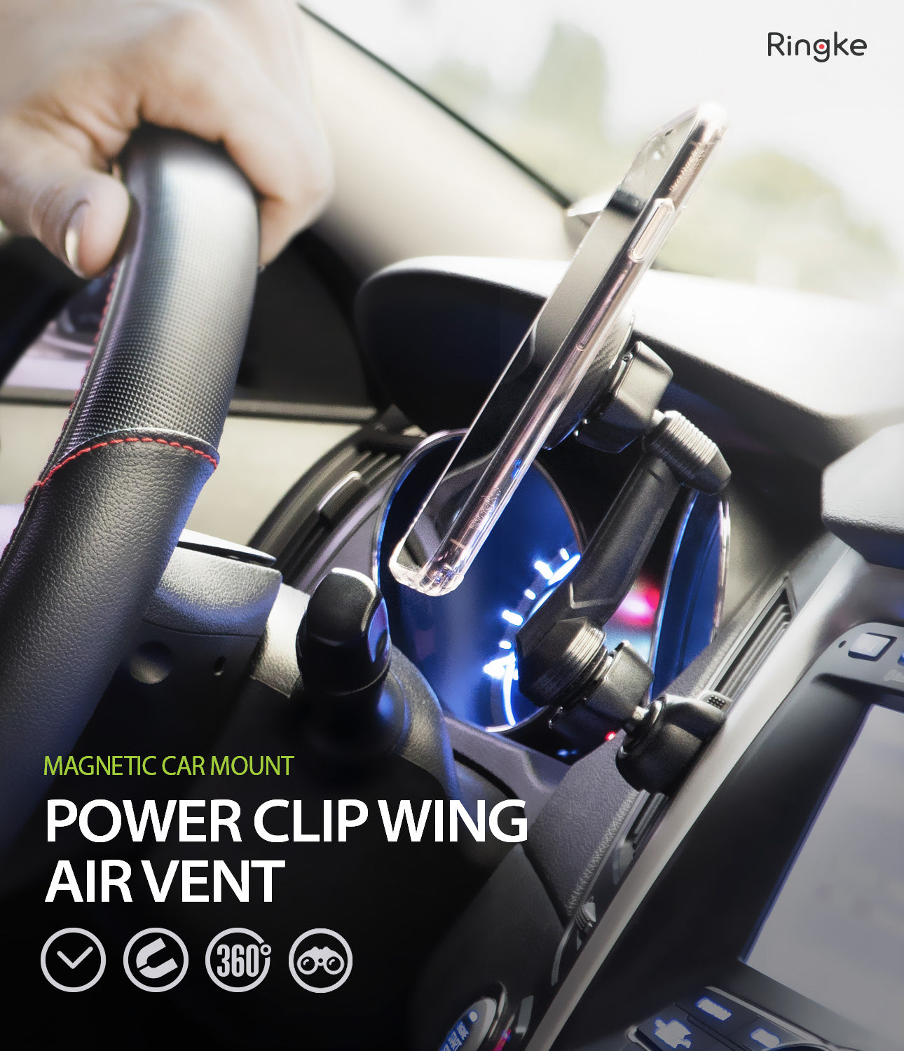 Ringke Power Clip Wing Car Mount phone holder mount air vent with strong magnetic head