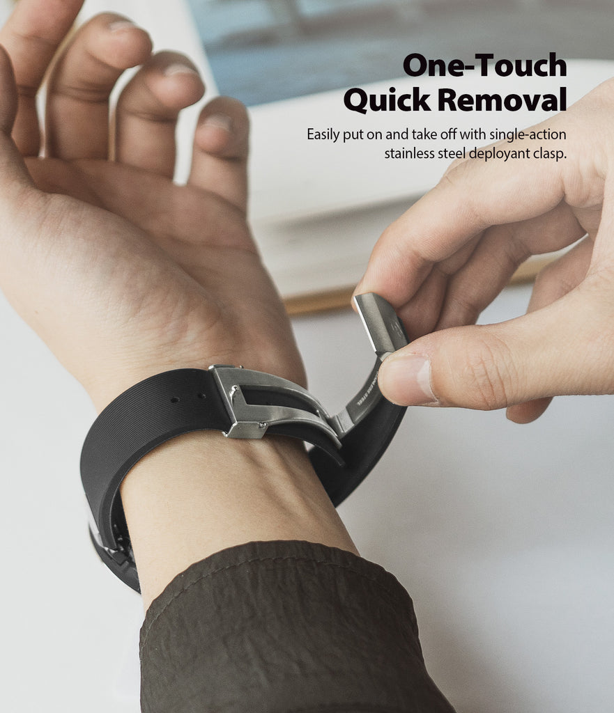 one-touch quick removal - easily put on and take off with single-action stainless steel deployant clasp