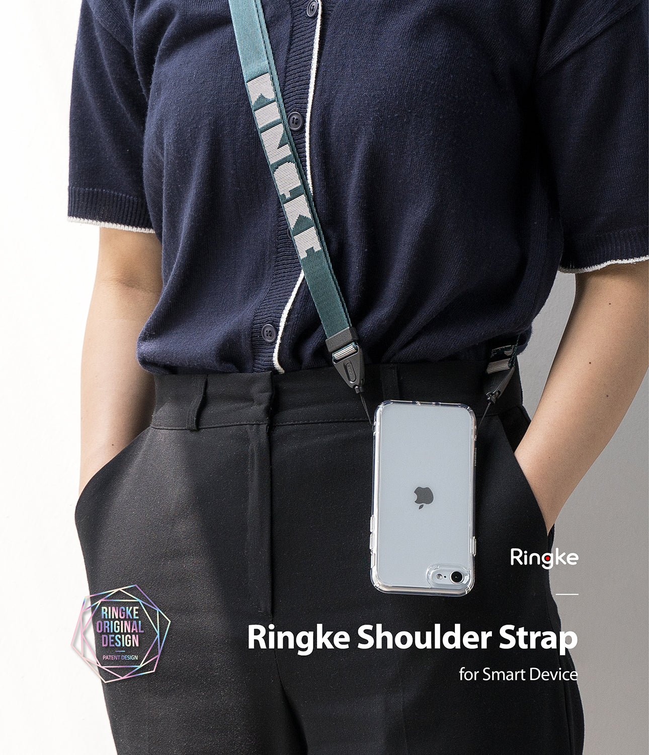 ringke lettering shoulder strap - peacock green
