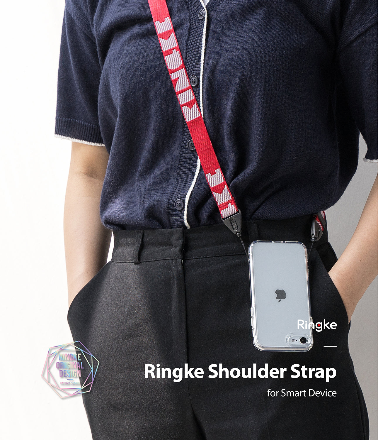 ringke lettering shoulder strap - red