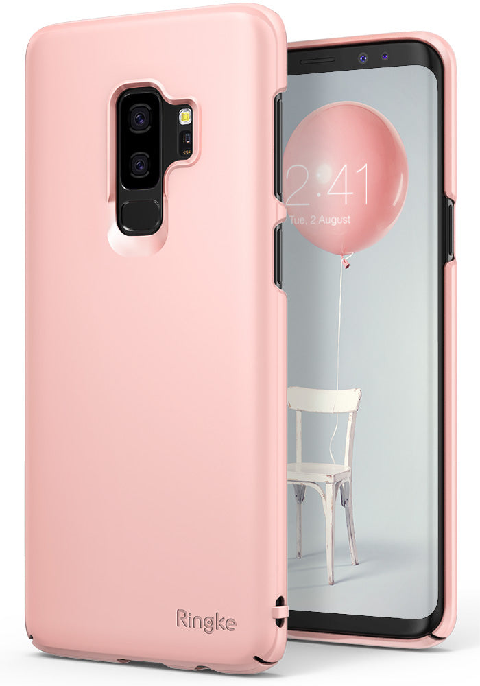ringke slim lightweight thin hard pc back cover for galaxy s9 plus peach pink