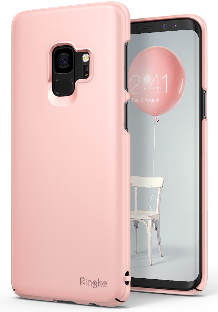 ringke slim premium hard pc protective back cover case for galaxy s9 peach pink